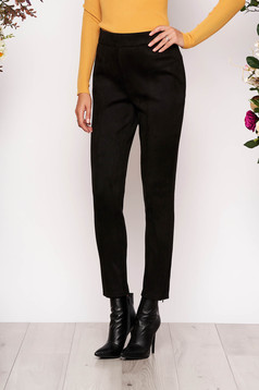 StarShinerS black casual high waisted trousers from velvet fabric
