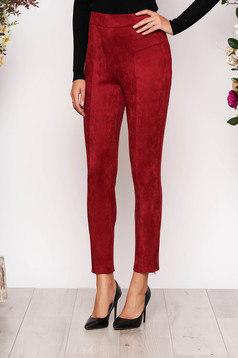 StarShinerS burgundy casual high waisted trousers from velvet fabric