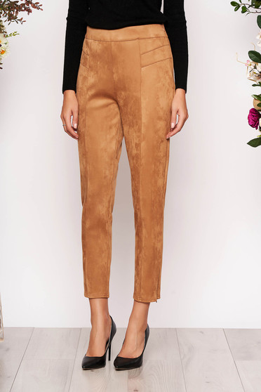 StarShinerS cappuccino casual high waisted trousers from velvet fabric
