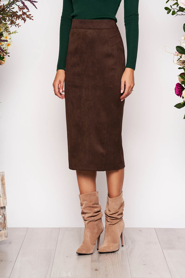 StarShinerS darkbrown midi high waisted pencil skirt from velvet fabric