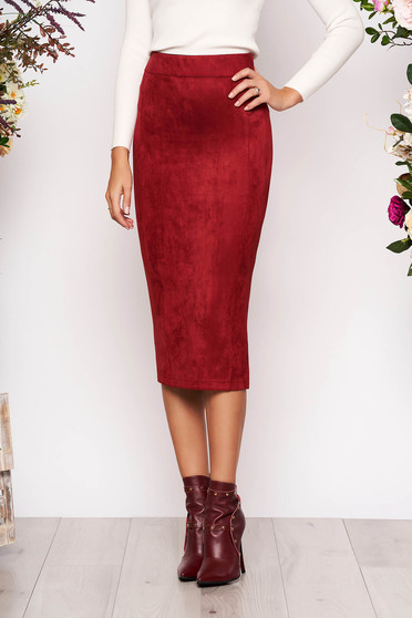 StarShinerS burgundy midi high waisted pencil skirt from velvet fabric