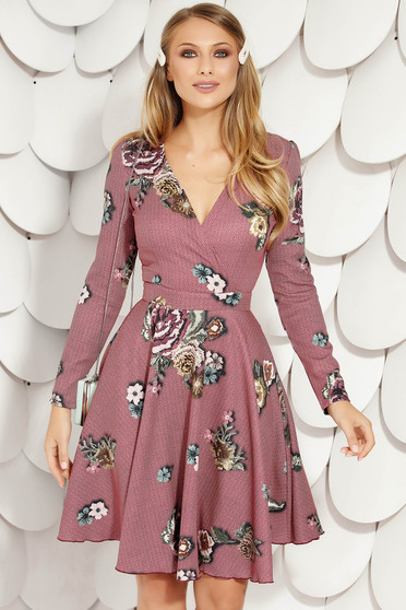 Burgundy office cloche dress long sleeve nonelastic fabric with floral prints