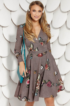 Brown office cloche dress long sleeve nonelastic fabric with floral prints