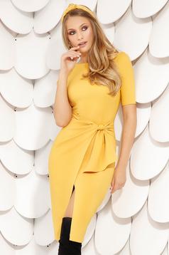 Mustard elegant midi pencil dress cloth from elastic fabric short sleeves wrap over skirt