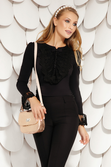 Black elegant short cut cotton women`s blouse tented long sleeved with bell sleeve with lace details