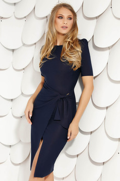Darkblue elegant midi pencil dress cloth from elastic fabric short sleeves wrap over skirt