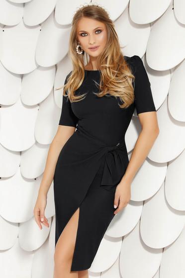 Black elegant midi pencil dress cloth from elastic fabric short sleeves wrap over skirt