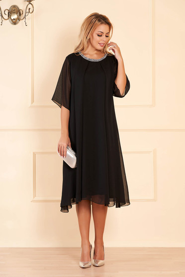 Black occasional flared dress from veil fabric with bright details