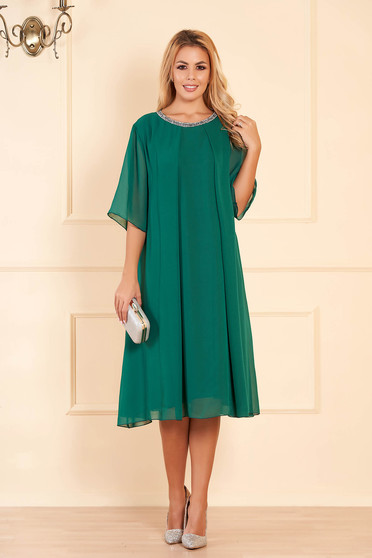 Green occasional flared dress from veil fabric with bright details