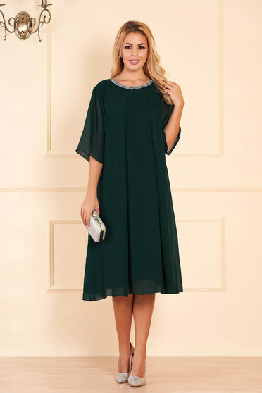 Dirty green occasional flared dress from veil fabric with bright details
