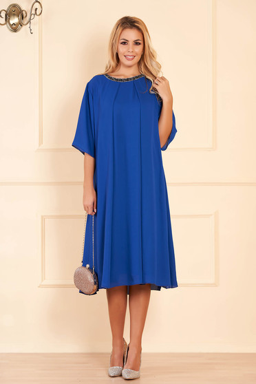 Blue occasional flared dress from veil fabric with bright details