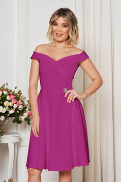 StarShinerS purple occasional elegant cloche dress with a cleavage off-shoulder flexible thin fabric/cloth