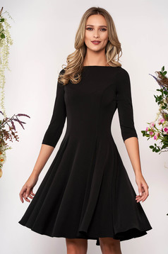 StarShinerS black daily cloche dress thin fabric with large collar