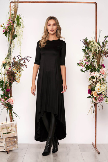 Black daily asymmetrical dress slightly elastic cotton with 3/4 sleeves