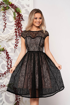 StarShinerS black dress elegant occasional short cut laced v back neckline short sleeves with inside lining