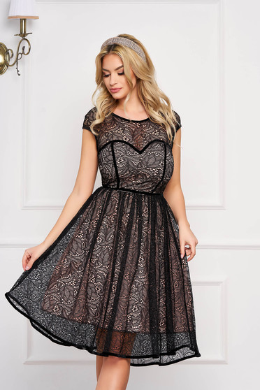 StarShinerS black dress elegant occasional short cut laced v back neckline short sleeves with inside lining