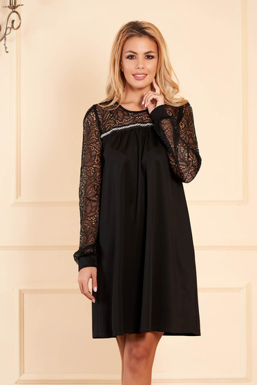 StarShinerS black dress elegant occasional short cut flared jersey with laced sleeves from shiny fabric without clothing