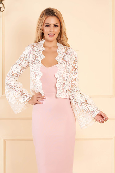 StarShinerS cream occasional bolero jacket from laced fabric with bell sleeved