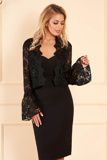 StarShinerS black occasional bolero jacket from laced fabric with bell sleeve