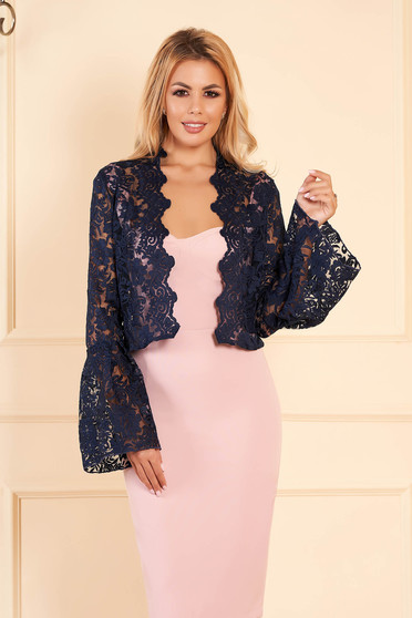 StarShinerS darkblue occasional bolero jacket from laced fabric with bell sleeve