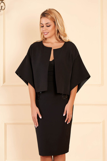StarShinerS black occasional flared jacket 3/4 sleeve from satin fabric texture