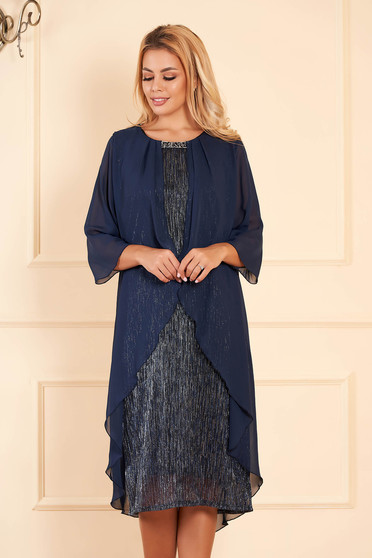 Darkblue dress elegant occasional midi pencil with veil sleeves voile overlay short sleeves