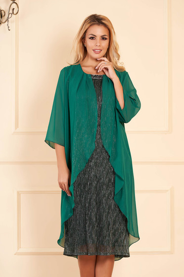Green dress elegant occasional midi pencil with veil sleeves voile overlay short sleeves