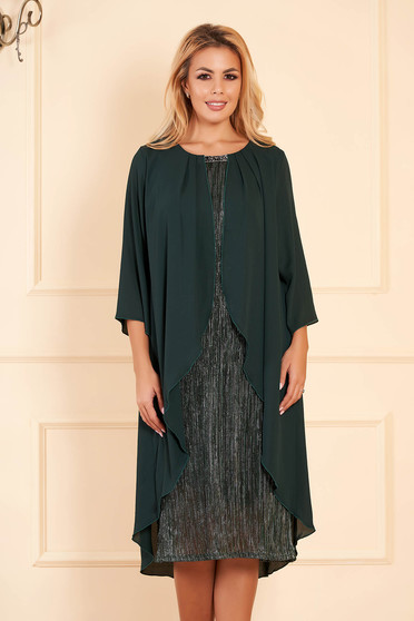 Darkgreen dress elegant occasional midi pencil with veil sleeves voile overlay short sleeves