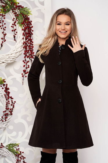 Black coat from thick fabric arched cut with inside lining cloth