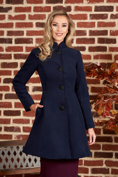 Darkblue coat from thick fabric arched cut with inside lining cloth