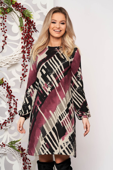 StarShinerS purple daily with easy cut dress knitted fabric