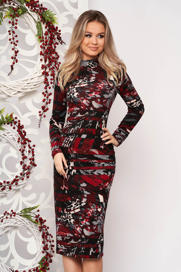 Dress StarShinerS red daily midi turtleneck knitted fabric long sleeved with tented cut