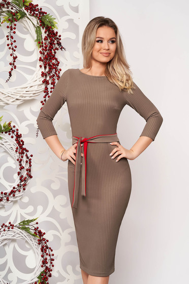 StarShinerS grey dress elegant midi pencil from striped fabric without clothing back slit accessorized with tied waistband