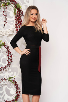 StarShinerS black dress elegant midi pencil from striped fabric without clothing back slit accessorized with tied waistband