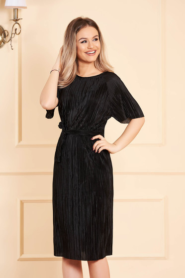 Dress StarShinerS black with 3/4 sleeves from velvet accessorized with tied waistband midi straight