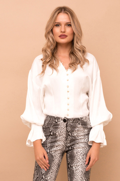 White elegant flared women`s shirt with v-neckline from satin fabric texture