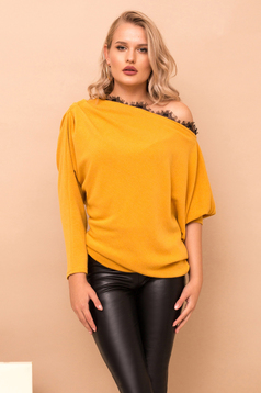 Mustard casual flared sweater knitted fabric with lace details