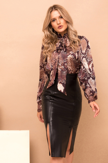 Brown women`s blouse with easy cut long sleeve nonelastic fabric with snake print