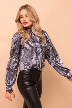 Grey women`s blouse with easy cut long sleeve nonelastic fabric snake print