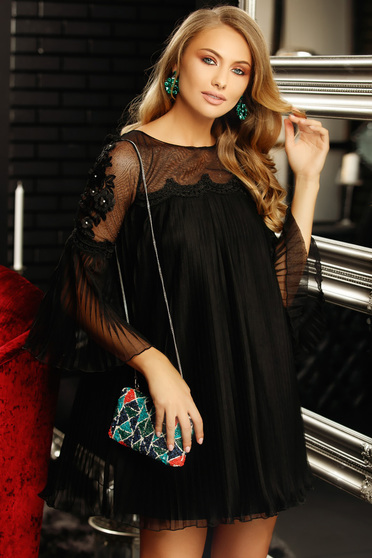 Black occasional folded up flared dress with bell sleeve with lace details