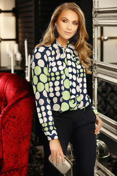 Darkblue elegant flared women`s blouse from veil fabric with dots print