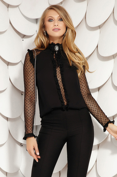 Black elegant flared women`s blouse from veil fabric with ruffle details transparent sleeves