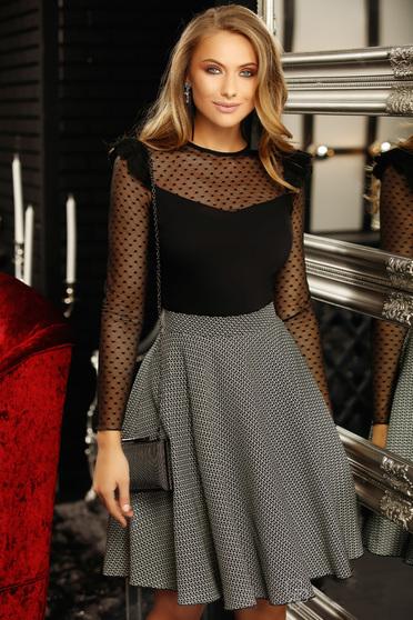 Black office midi high waisted cloche skirt slightly elastic fabric