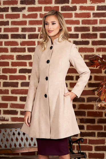 Cappuccino elegant coat from non elastic fabric with inside lining cloche