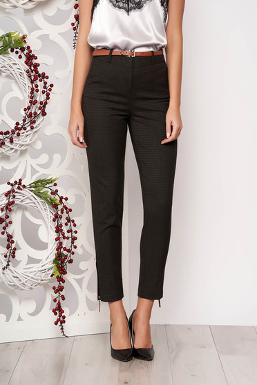 Darkgrey office straight trousers medium waist slightly elastic fabric accessorized with belt