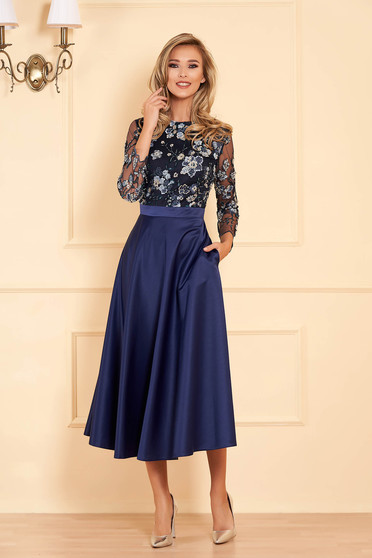 Darkblue occasional midi flaring cut dress from satin with small beads embellished details