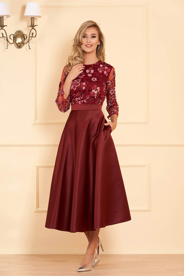 Burgundy occasional midi flaring cut dress from satin with small beads embellished details