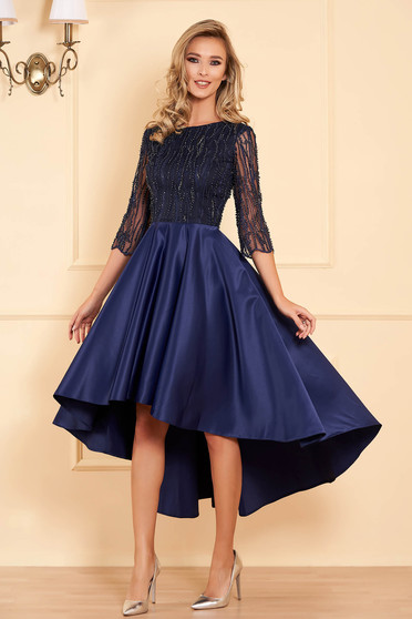 Darkblue occasional asymmetrical cloche dress from satin and embroidered tulle with small beads embellished details