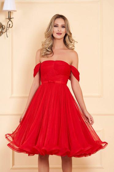 Ana Radu red occasional midi off-shoulder cloche dress from tulle