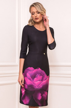 Fuchsia elegant midi pencil dress from elastic fabric with rounded cleavage with floral print